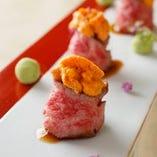 常陸牛と雲丹のお寿司