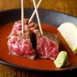 米沢牛の串ステーキ