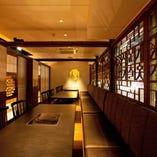 【宴会個室】落ち着いた雰囲気でプライベートを楽しめる宴会個室席。