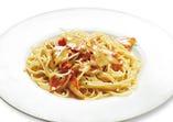 奥久慈卵で作った スパゲッティ カルボナーラ