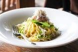 しらすと枝豆と水菜のペペロンチーノ~さっぱり梅おろし~