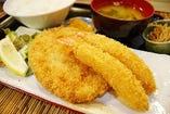 鮪カツと海老フライ定食ランチ