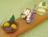 ・和のスイーツ三種種盛り合わせ ゆずシャーベット・黒糖葛餅・抹茶パフェ