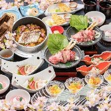 【優雅】コース 三元豚の陶板焼き、ずわい蟹、海鮮ばらちらしを盛り込みました 忘新年会に 女子会に