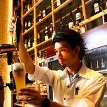 丁寧に注いだ生ビール(プレミアムモルツ)は、ステーキにもよく合います。