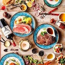 リブやフィレなど!シュラスコ&ステーキ全10種+ビュッフェ40種!180分食べ飲み放題コース6000円