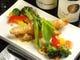 タタキ海老とクリームチーズの揚げ春巻き
