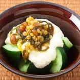 きゅうりととろろの島原納豆味噌のせ