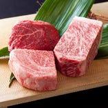 京丹波にある自社牧場で丹精込めて育てた自慢の牛肉をどうぞ