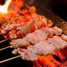 伊万里ハーブ鶏使用の串焼きに舌鼓