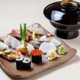 ランチの寿司セットは1,000円。