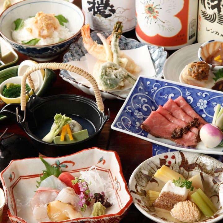 五感で愉しむ絶品料理!料理長おまかせ会席コース6980円~(税別)