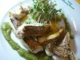 本日のお魚のソテー  バジルとアンチョビのラヴィゴットソース