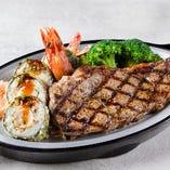 ディープフライドシュリンプ寿司ロール&サーロインステーキ