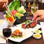 高価なイメージのステーキも、お仲間とシェアすればリーズナブルに楽しめます