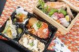 贅沢お造り盛り合わせと金目鯛あら煮、鯛めし弁当