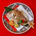 お祝い膳には祝い鯛もお付けいたします