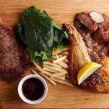 阿波牛&阿波ポーク&阿波尾鶏よくばり肉プレート