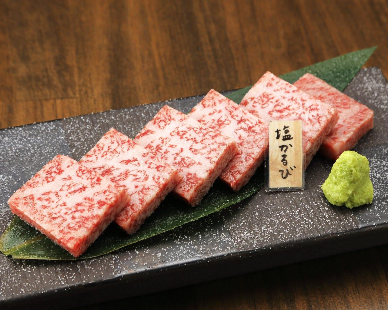 特選塩かるび、牛タンの入った5,000円(税込)コース