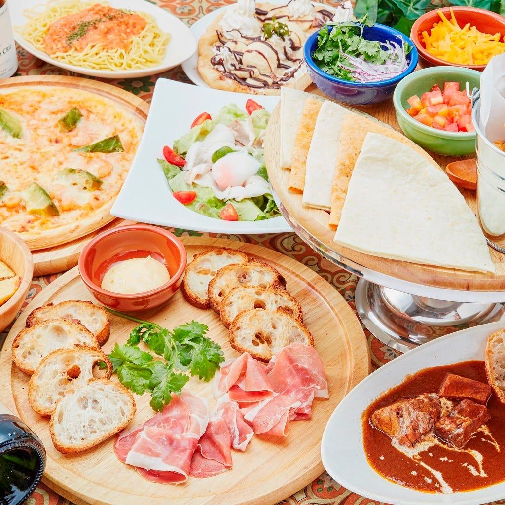 【おすすめ!オリエンタルコース】オリエンタルチキンTACOS・アジアン手作りピザの人気料理 全8品 2,741円