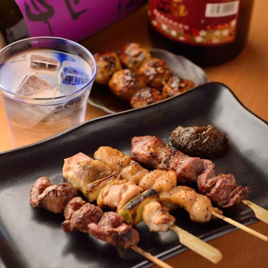 【串焼きコース】串焼き6種・刺盛り含むお料理9品(飲み放題付)3,500円