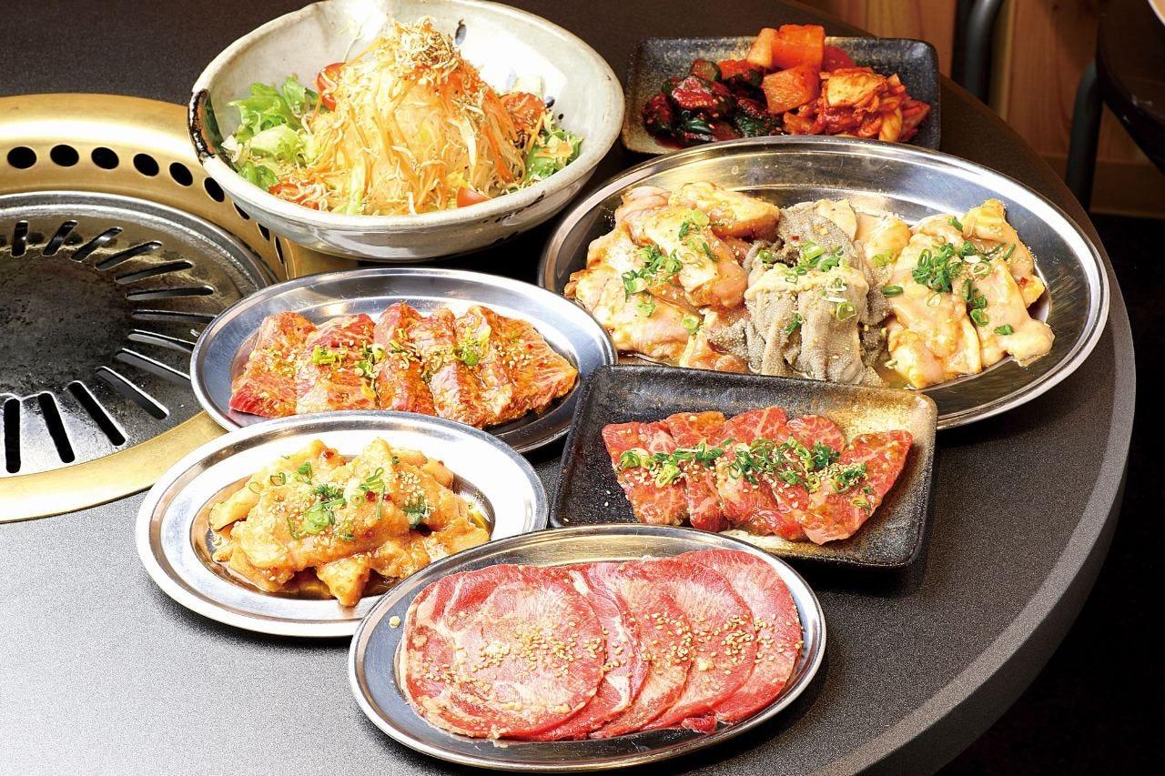 【かどや贅沢コース】厚切りタンも食べれる!肉+野菜 5,000円