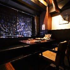 錦の夜景が見える贅沢な個室空間