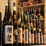 全国各地から厳選した日本酒・焼酎の銘柄の中にはプレミアムも有