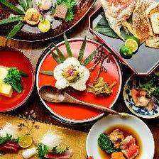 旬魚と寿司の会席は、割烹スタイルで