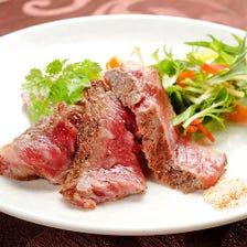 和牛特選いちぼ肉のステーキ~わさび醤油とガーリック塩で~