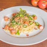 納豆とオクラのペペロンチーノ