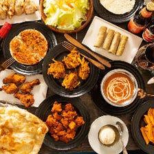 【2H飲み放題付】本格インド料理を心ゆくまで堪能!『全品食べ飲み放題コース』全15品・4,000円(税抜)