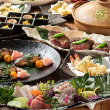飲み放題付(LO90分)真鯛の造りと旬食材の天ぷら・アンガス牛の極コース(全9品)5,000円