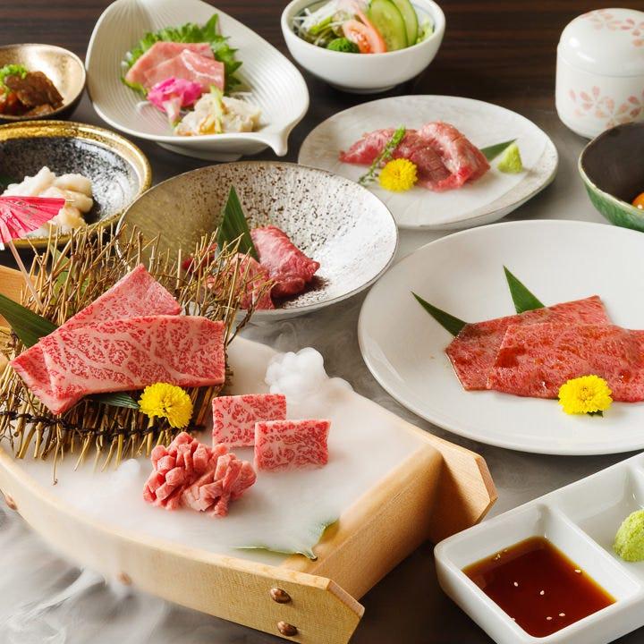 上質なお肉が楽しめる2時間飲み放題付コースは7,500円(税抜)~