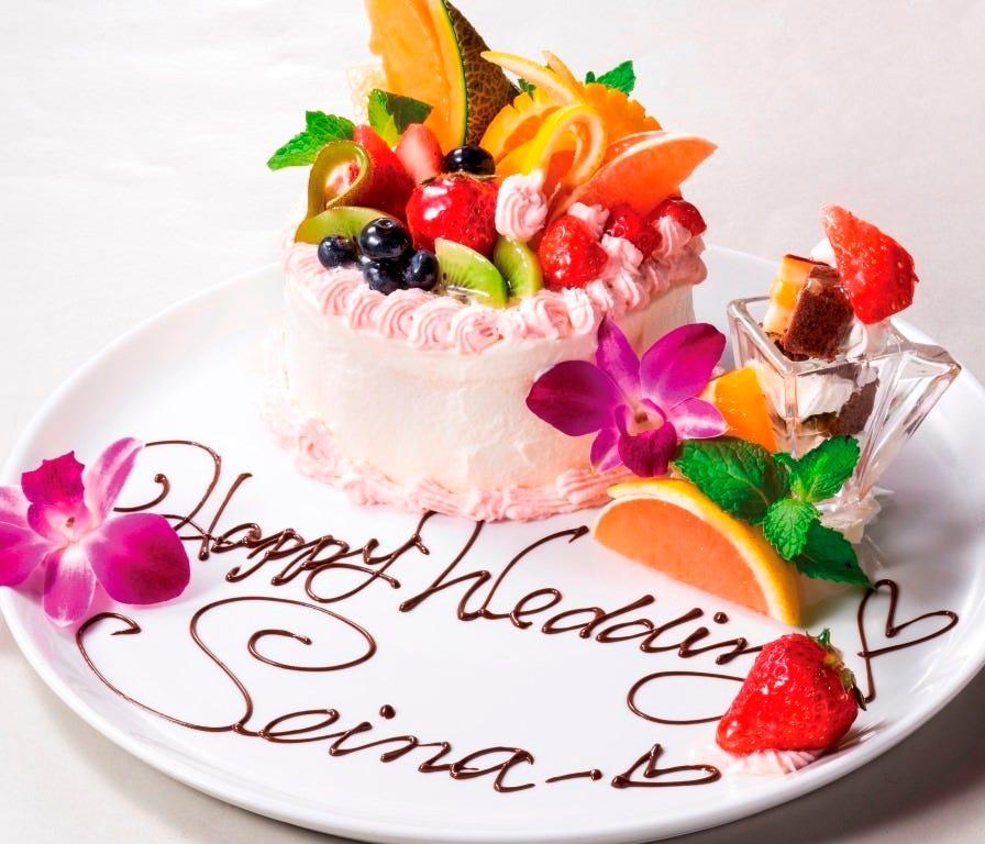 【飲み放題付き】プラチナコース ¥6,000円(税込)記念日、デート、お祝いなど、メッセージも可!
