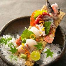 【造り盛り合わせ】 料理長自ら市場で買い付け!脂の乗った魚をまずは造りで
