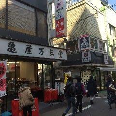 和菓子「亀屋万年堂」の角を左折