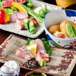 食材 地元糸島の新鮮な野菜や魚介類をふんだんに使用