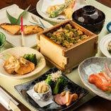 2時間飲み放題付コースを5,000円からご用意しております。銘々盛の会席コースは会食や接待にもご利用ください
