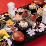 由布院の旬の食材を使用したお祝い会席