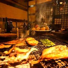 四季の北海道食材を炭火焼きで
