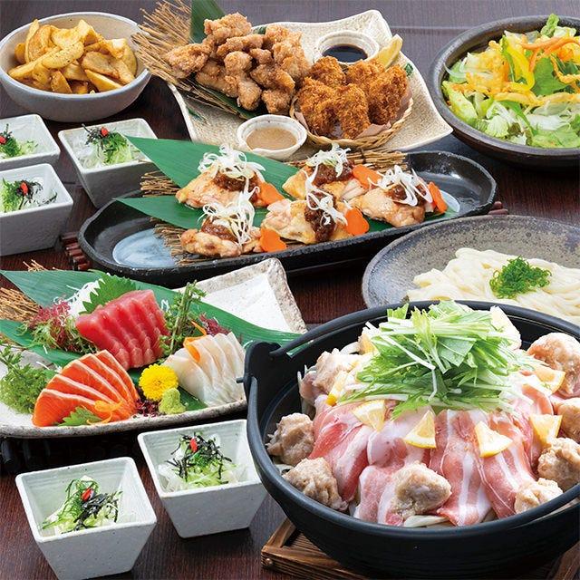 【夢コース】2h飲み放題+お刺身、三元豚の旨塩レモン鍋、自慢の鶏唐付き♪3,900円(税込)