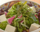 とようけ屋山本さんとこの豆富と京水菜のサラダ
