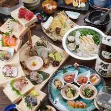 お造り7種盛り、マグロのハラス焼き、季節の鍋、〆には釜飯まで堪能できる『5,000円(税抜)コース』宴会