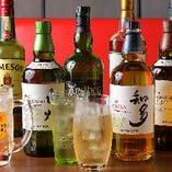 各国の厳選ワインとともに世界5大ウイスキーを豊富にご用意!