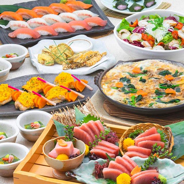 春の特別コース4500円。ミナミ鮪と寿司盛りのおすすめコース♪