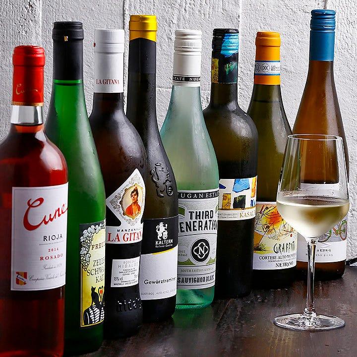世界のワインを厳選!常時30種類以上