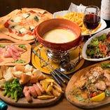 食べ飲み放題コースはチーズフォンデュ付!バケット/ソーセージ/ポテト/ブロッコリーもお腹いっぱいになるまでご堪能いただけます♪
