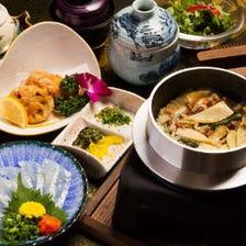 穴子の釜飯と茶蕎麦の御膳
