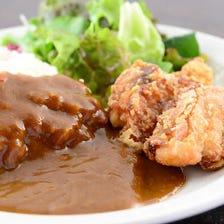 東京醤油カレー&からあげプレート  (サラダ、スープ付)